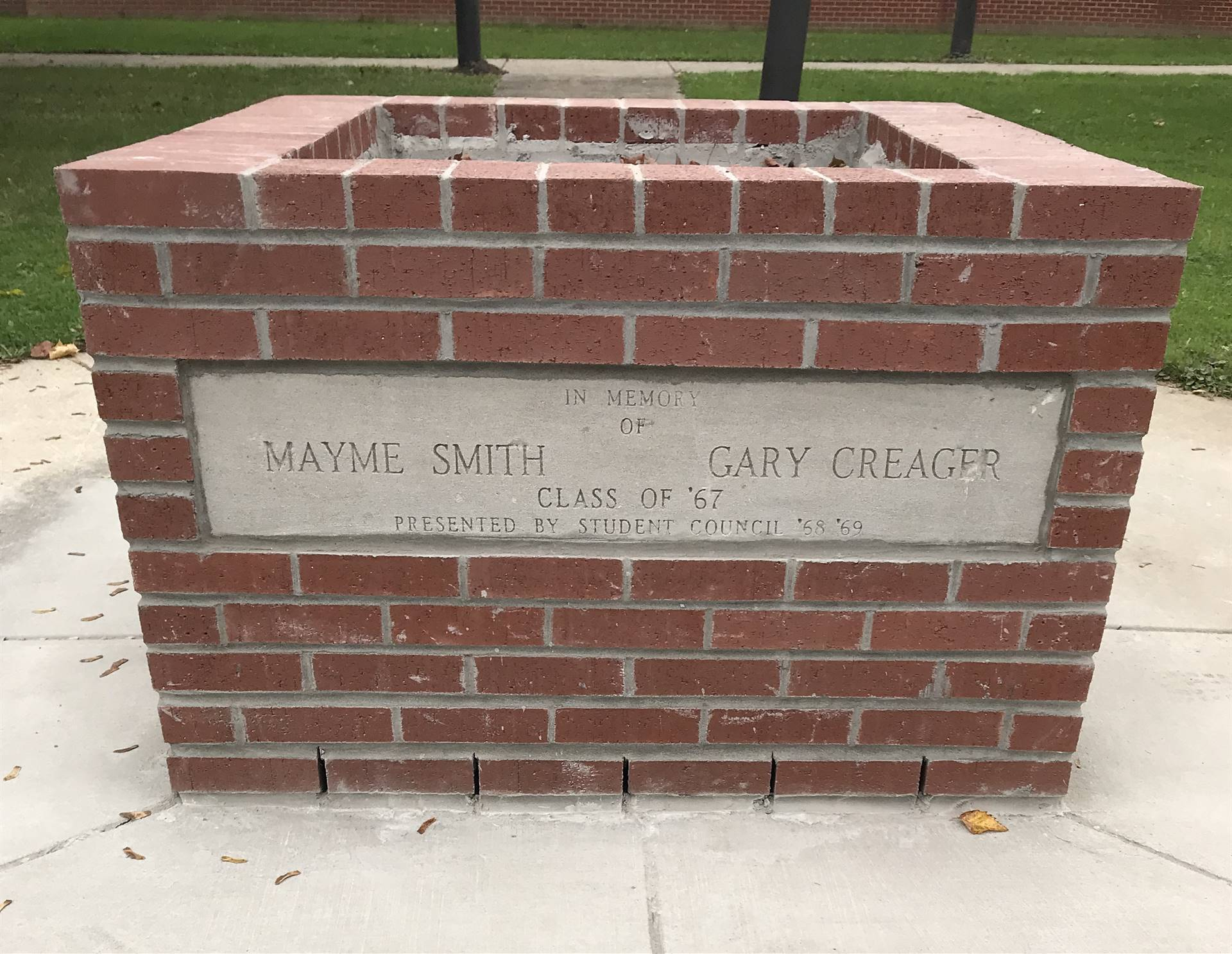 Thank you Dale Shafer for restoring the brick planter that memorializes former students