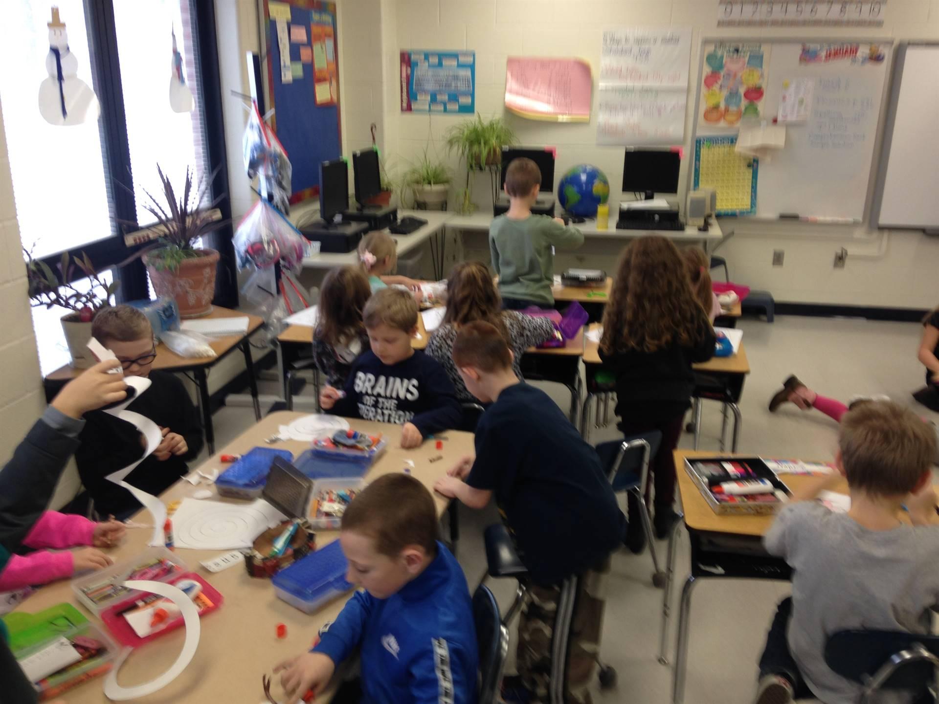 2nd Grade:  Making snowmen!
